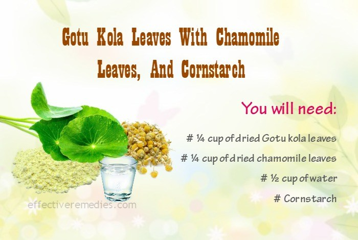 home remedies for eczema - gotu kola, chamomile leaves, and cornstarch