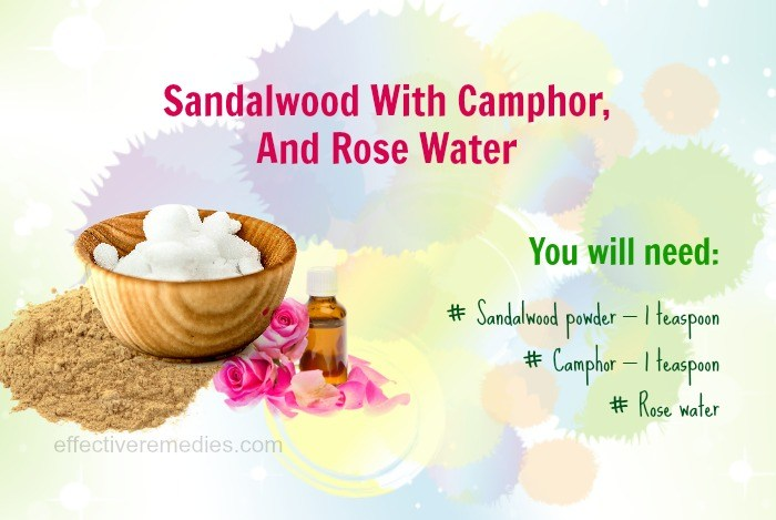 home remedies for eczema - sandalwood, camphor, and rosewater