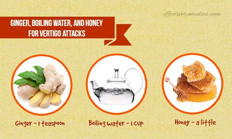 home remedies for vertigo - ginger, boiling water, and honey