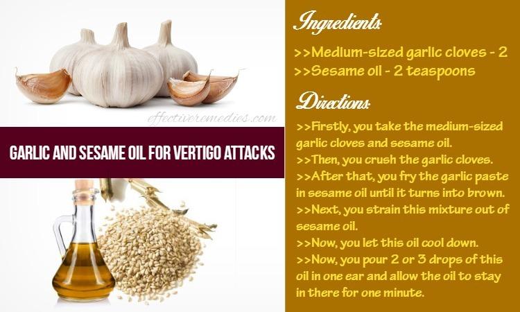 home remedies for vertigo - garlic and sesame oil