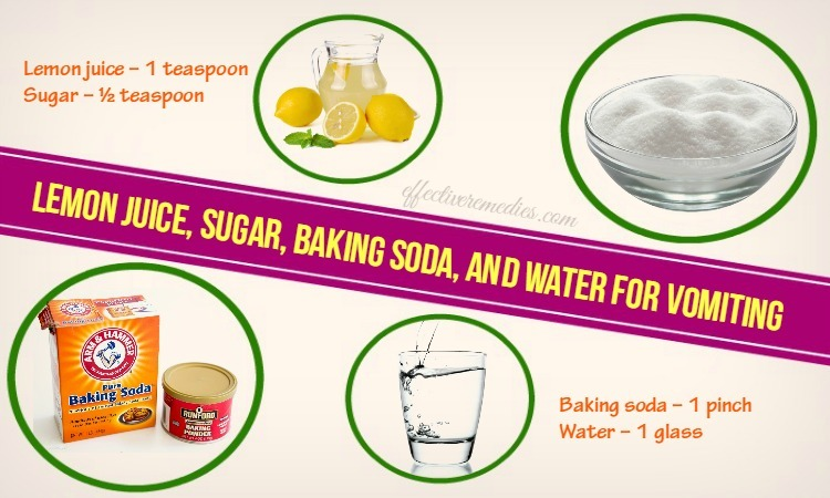 home remedies for vomiting - lemon juice, sugar, baking soda, and water