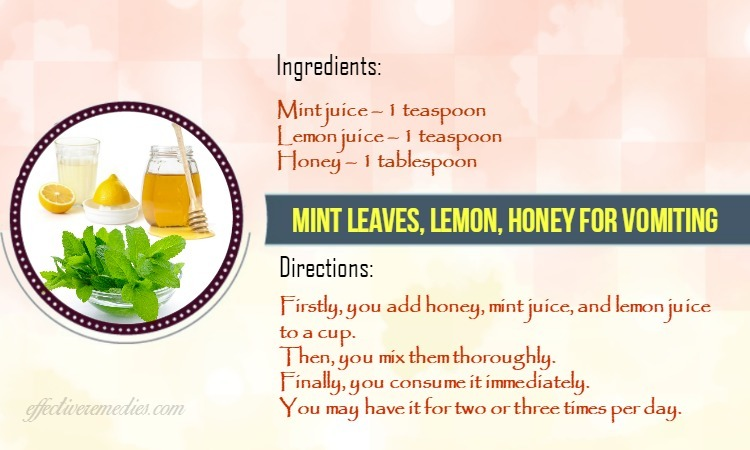 home remedies for vomiting - mint juice with lemon juice, and honey